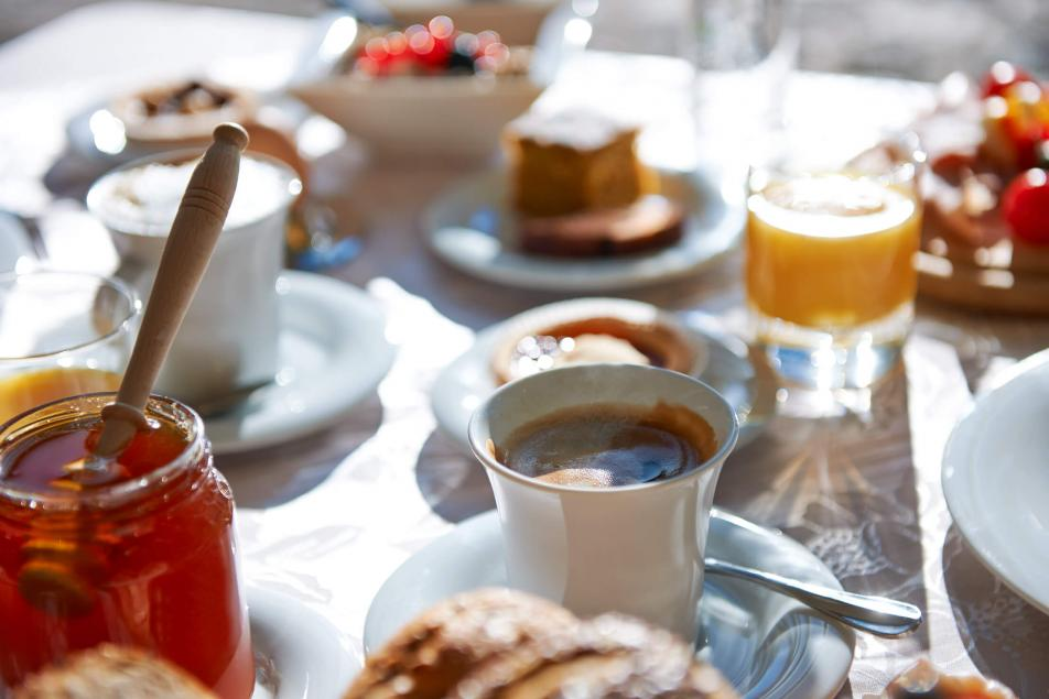 Creative Cuisine Healthy Breakfast Fresh Juice Mountain Honey Italian Coffee