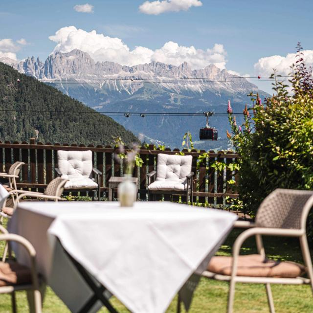 Dining in the garden with Dolomites view