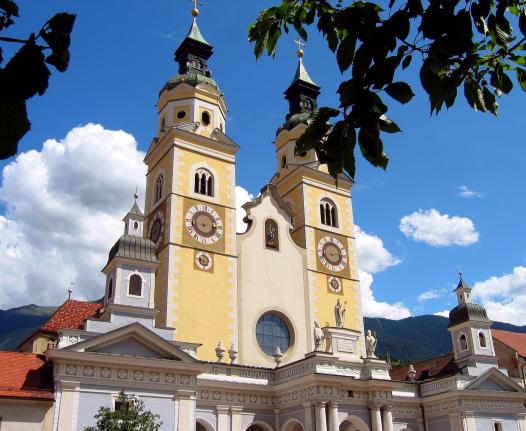 Brixen Cathedral Cloister Bishop Residence South Tyrol Church Towers Clock Architecture